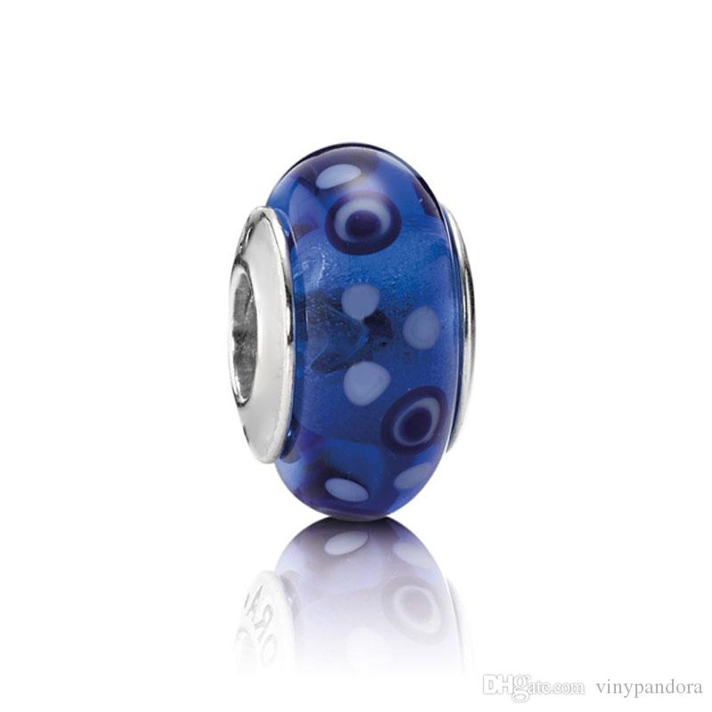 5pcs S925 Sterling Silver Threaded Screw Blue Bubbles Murano Glass Beads Fit Pandora Charm Jewelry Bracelets & Necklaces