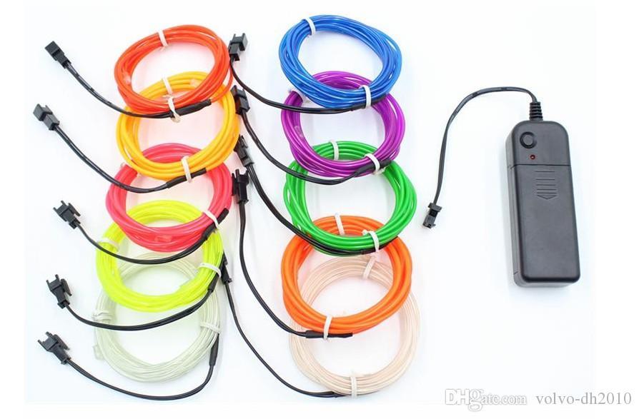 10 colori 3M 3V flessibile luce al neon bagliore EL filo metallico corda a nastro striscia LED luci al neon scarpe abbigliamento auto decorativa lampada a nastro LLFA