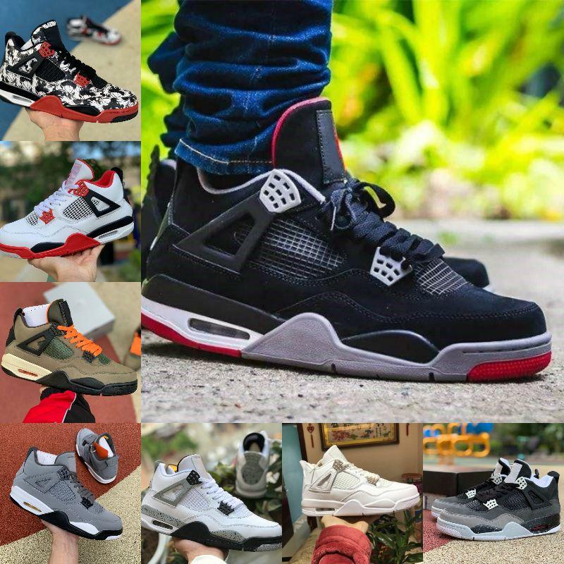 2020 Bred gatto nero 4 4s scarpe da basket Jumpman Mens White Cement Encore Ali Fire Red Singles Designer Sneakers IV Formatori denaro Pure