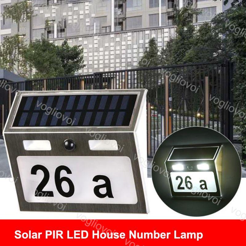 태양 보안 조명 모션 센서 하우스 번호 램프 쿨 화이트 스테인레스 스틸 방수 LED 가든 복도 벽 램프 DHL