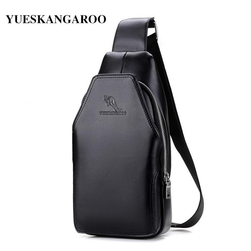 Leather Shoulder Bag YUES CANGURO petto singolo sacchetto Uomini Crossbody Borse Zaino marsupio modo di svago Messenger