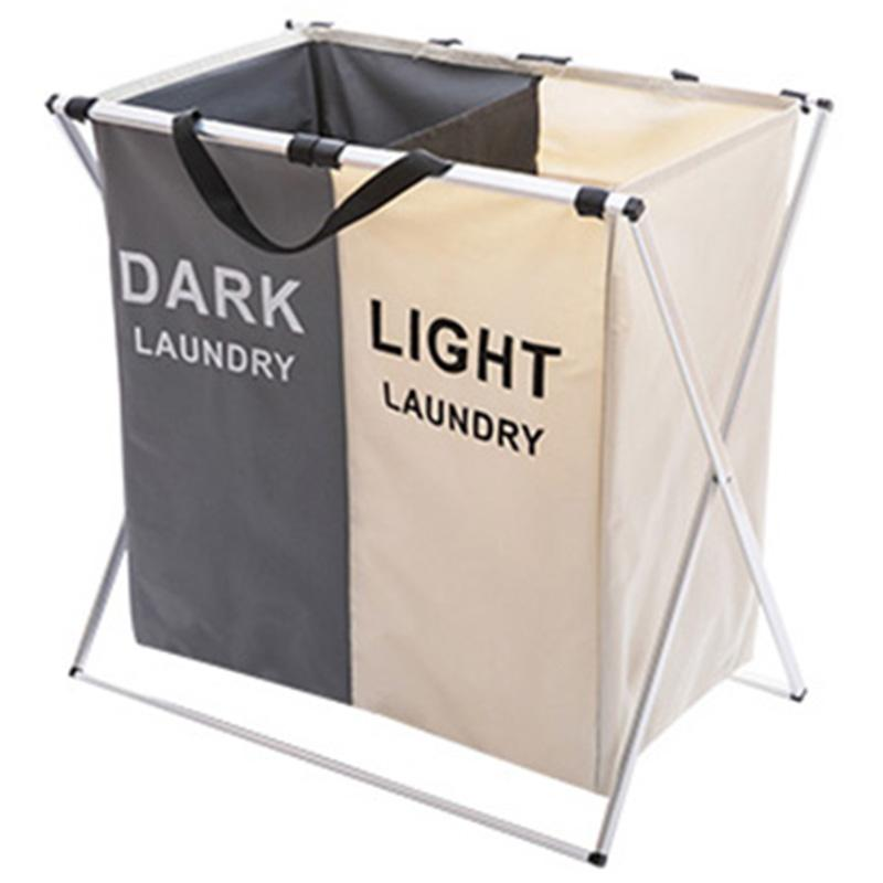 Laundry Basket Two Grids Dirty Clothes Storage Basket Organizer Basket Collapsible Waterproof Folding Large Laundry Hamper