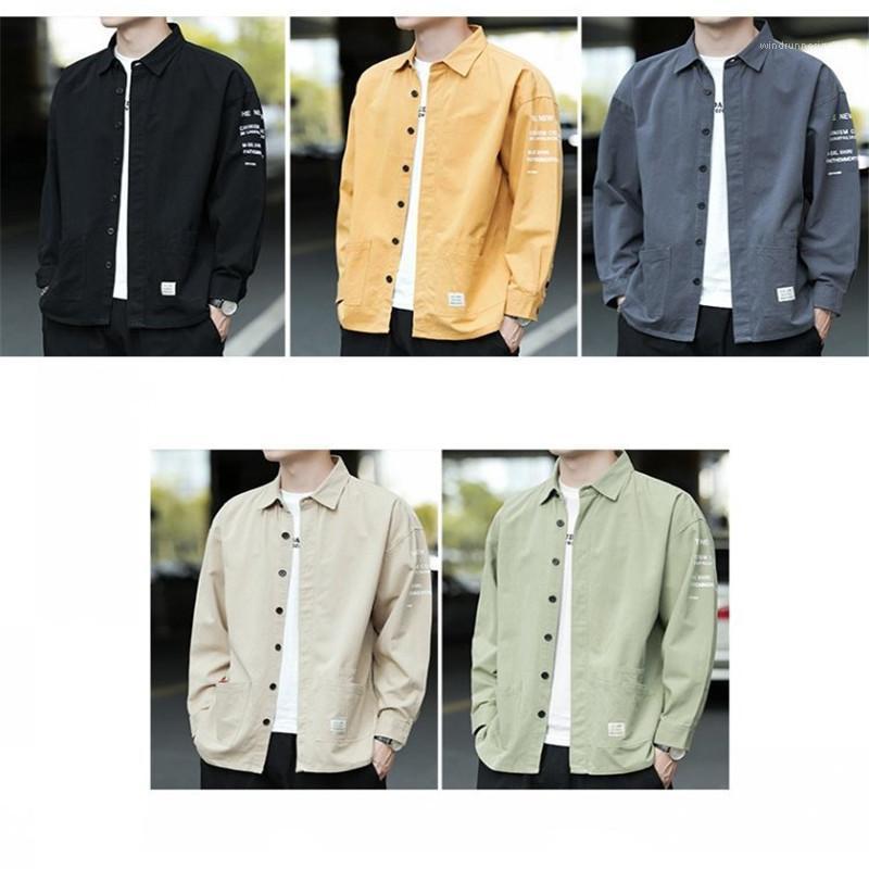 Gira Giù Il Collare Top Fashion Mens Abbigliamento Mens Designer Shirt Lettera Stampata Casual Manica Lunga Tees Allentato Colore Puro