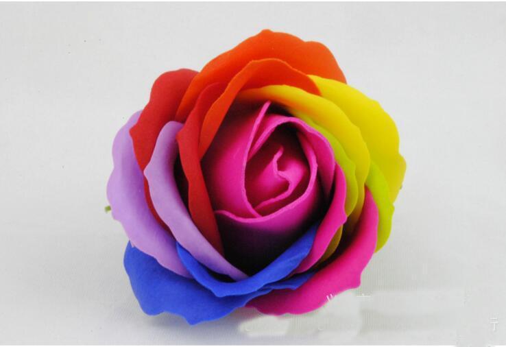 Mostrar arco iris de colores 5 Rose Jabones de flores fuentes de la boda para llevar Evento Bienes de Partido favor WC jabón perfumado accesorios de baño