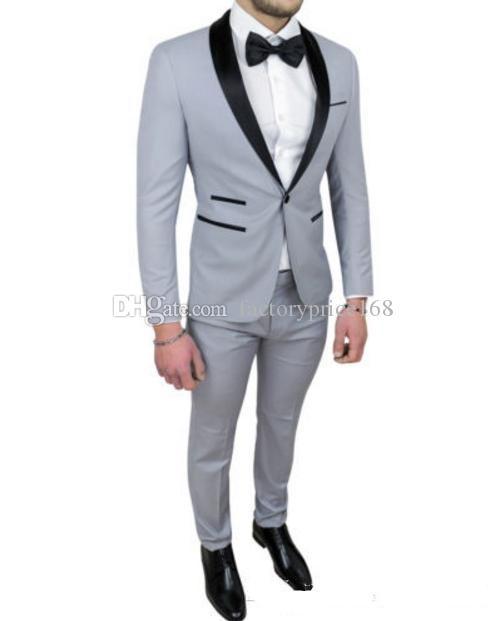 Popular One Button Groomsmen Shawl Lapel (Jacket+Pants+Tie) Groom Tuxedos Groomsmen Best Man Suit Mens Wedding Suits Bridegroom A194