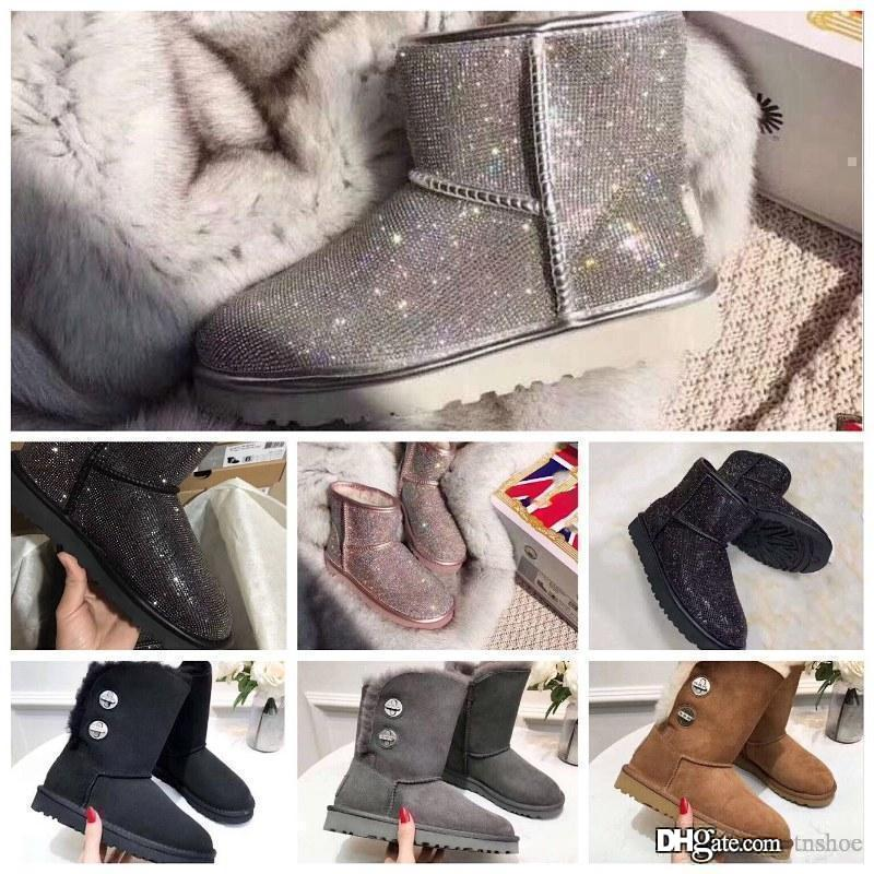 2019 Designer Women Winter Snow Boots Luxury Australia Classic Short bow boots Ankle Knee Bow girl MINI Bailey Boot 2019 size 36-40