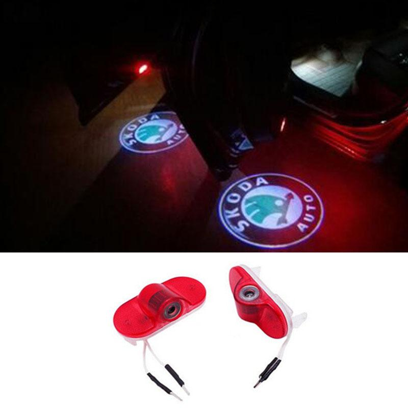 Wholesale Car LED Ghost Shadow Projector Laser Courtesy Logo Welcome Lights For Skoda Octavia 2004 - 2008 AAA