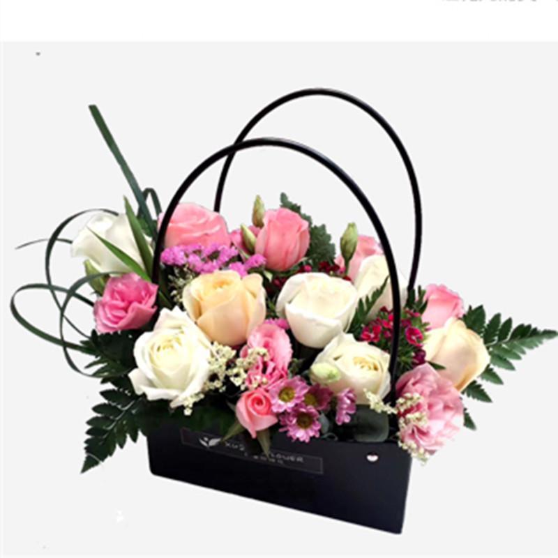 10Pcs / Lot PVC tote bag portatile fiore sacchetto impermeabile regalo consegna imballaggio da asporto