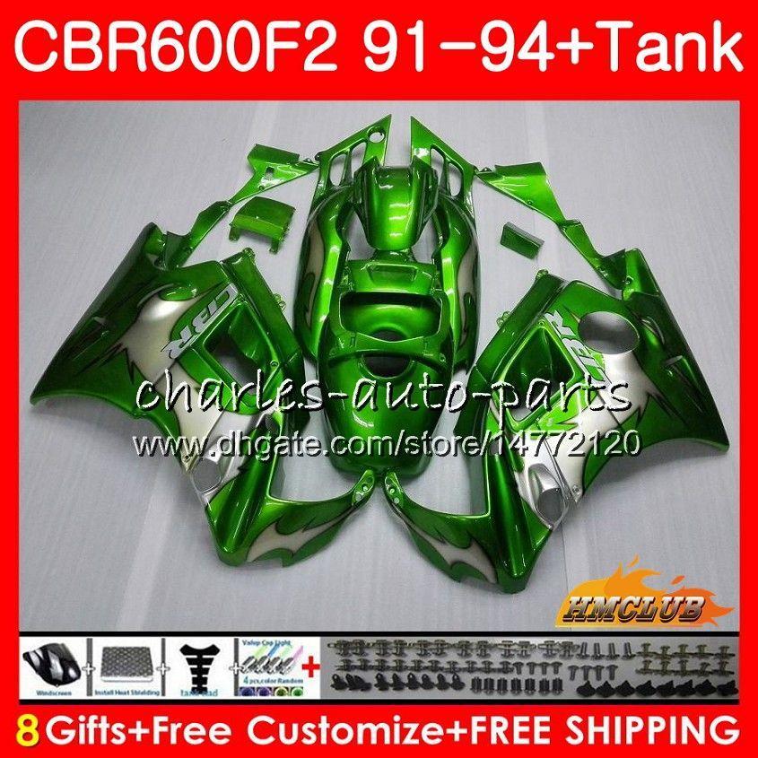 Body + Serbatoio per Honda CBR 600F2 CBR600FS CBR 600 FS F2 91 92 93 94 40HC.22 600cc CBR600 F2 CBR600F2 1991 1992 1993 1994 carenatura fiamme verdi