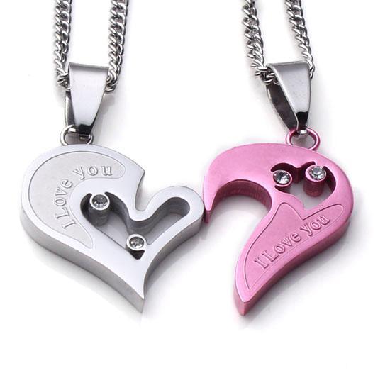 Venta al por mayor 5 piezas de acero inoxidable romántico amor corazón colgante enlace cadena collar para pareja regalo joyería