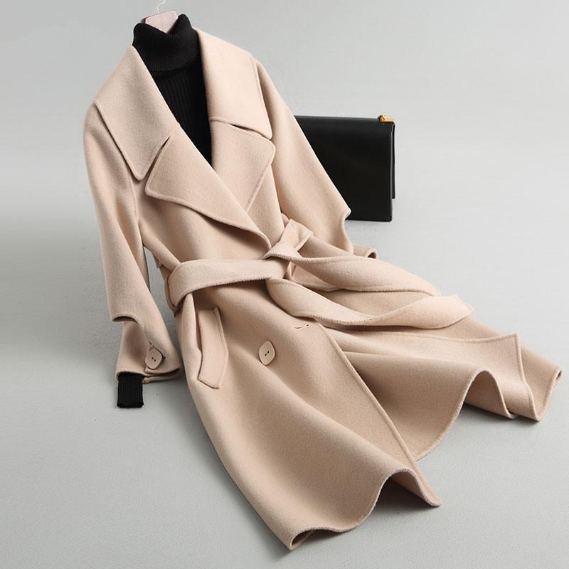 Yan Çift Yün Coat Bayan Ceket İlkbahar Sonbahar Ceket Kadınlar Kore Yün Coats ve ceketler Kadınlar Palto MY3537 EN ler ler