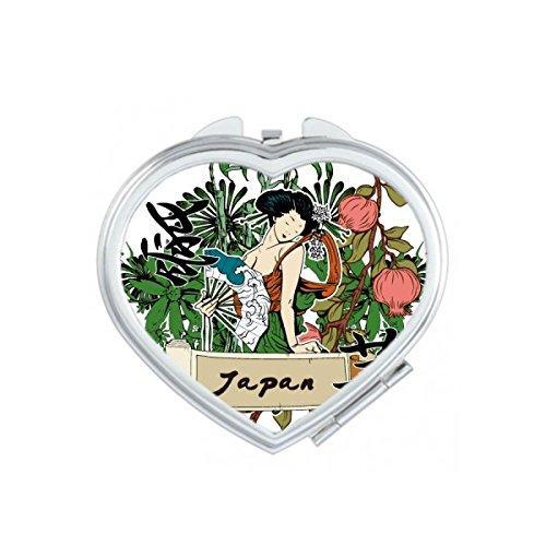 Japonya Kültür Yeşil Seksi Geisha Fan Bitkiler Çiçekler El-dekore Illüstrasyon Kalp Kompakt Makyaj Cep Aynası Taşınabilir Sevimli Küçük