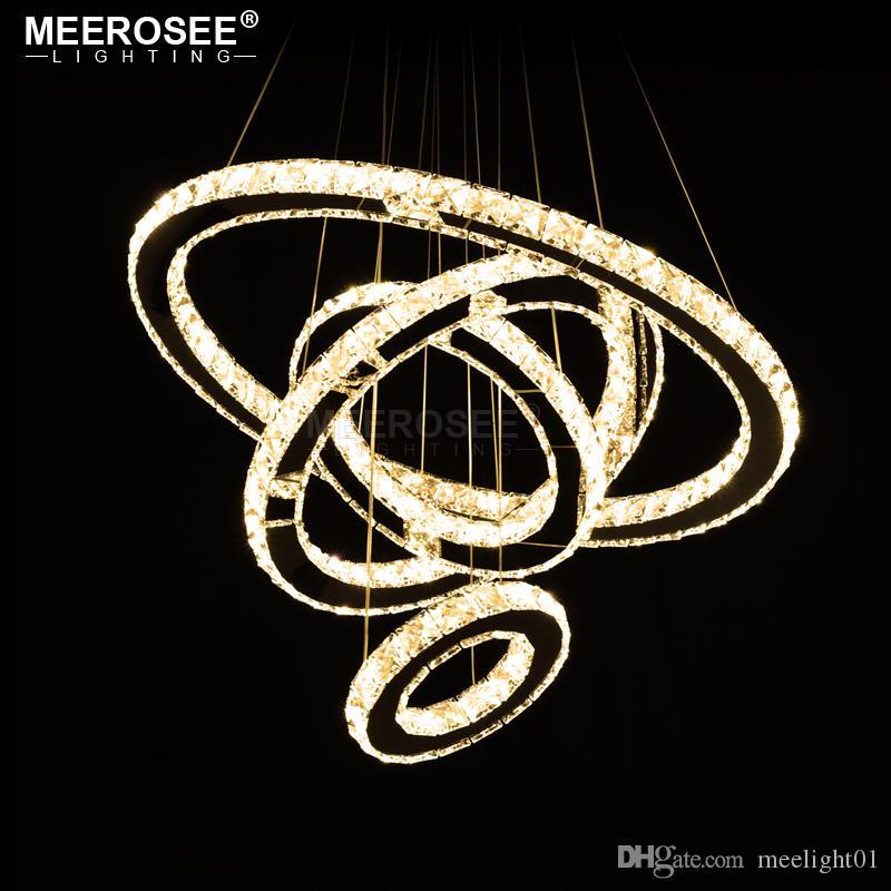 Aço LED Candelabro Luz Moderno inoxidável de cristal LED Pendant Light levou Kroonluchter Hanging Lamp 4 Anéis DIY Design Diamante Chandelier