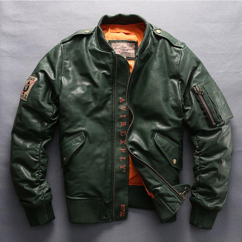Avirex Fly Men's Genuine Cuero Abajo Abrigo Vintage Sheepskin Chaqueta Sección Casual Abrigo Motocicleta Chaqueta Biker Motor Tamaño