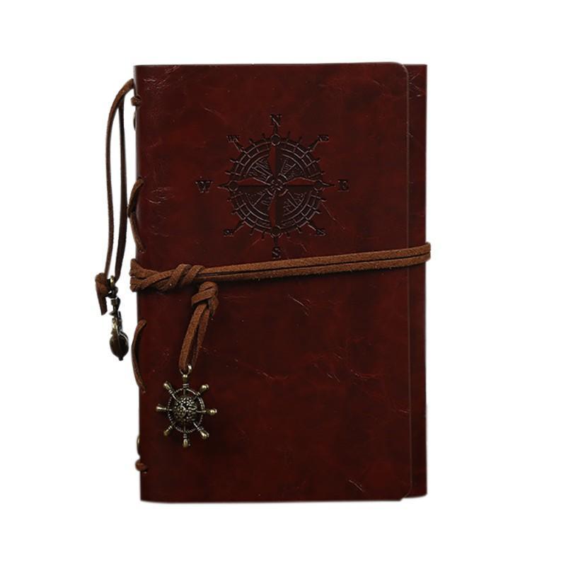 1pcs cahier à spirale journal bloc-notes vintage pirate ancres PU carnet de notes en cuir remplaçable papeterie cadeau journal de voyageur