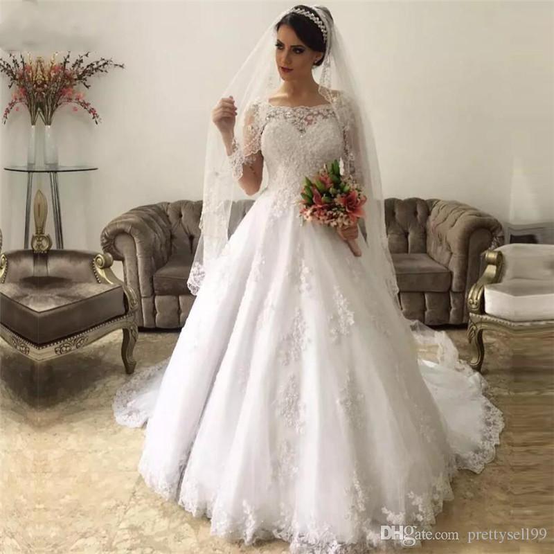 Vestidos de novia de la boda de encargo de las mangas largas vestidos de encaje 2020 con apliques con cuello redondo tribunal tren tul