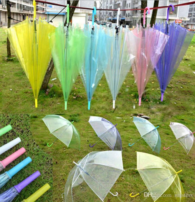 Прозрачный прозрачный EVC Umbrella Dance Performance с длинной ручкой Rainbow Umbrellas Beach Wedding Красочный зонтик 50шт