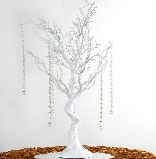 """30 """"الرصاص شجرة اصطناعية مانزانيتا الأبيض حزب محور الطريق الجدول الأعلى مناسبات الزفاف سلاسل الكريستال +20"""