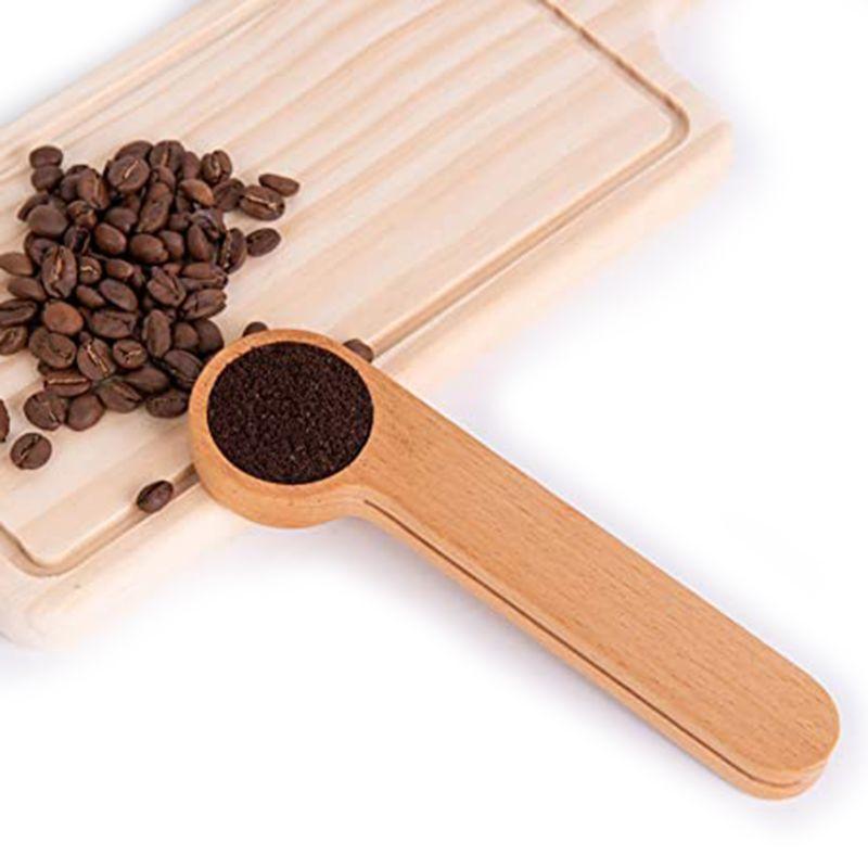 Ahşap Kahve Coffee Bean Kaşık aşıklar için Hediye Klip Ölçme, Clip ile Ölçü kaşığı