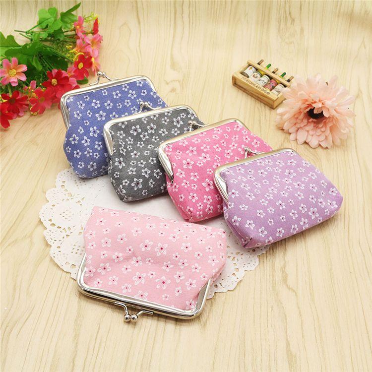 Femmes portefeuilles 5 couleurs porte-monnaie Femmes mode fleur sac à main de haute qualité coton imprimé tissu dame portefeuille JY226