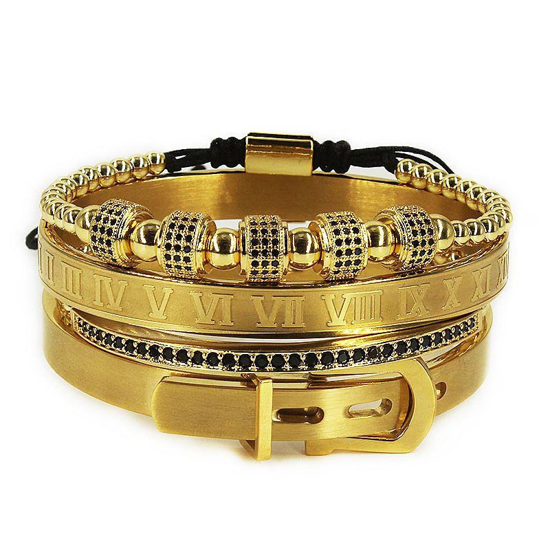 Bracelet hommes 4pcs / Set Bracelet en acier Roman titane chaud en fer à cheval Boucle numéral Bangles Pulseira Bileklik luxe à la main J