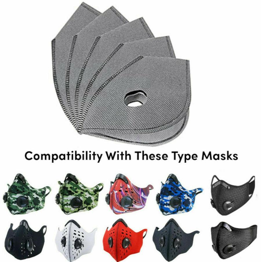 Cyclisme Filtre Masque Anti Haze Masque bouche Coussin filtre 5 Remplaçables couches Activated Filtre carbone Masques Insertion sans masque CCA12288 300pcs