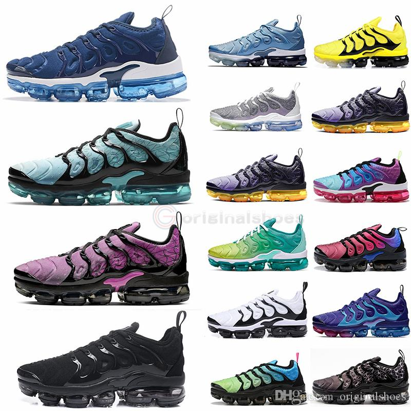 Nike Air VapormTN PLUS 2020 Los vapores Triple Negro Espíritu del trullo de los zapatos corrientes del Mens del diseñador Mujer zapatilla de deporte Maxes Tamaño 12