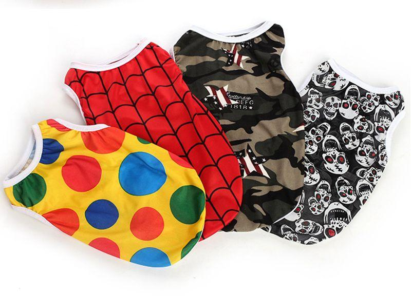Pet Dog Vests Polyester Breathable Small Dog T Shirts Printed Puppy Shirt Summer Dog Clothes Pet Apparel XS S M L XL LQPYW1137