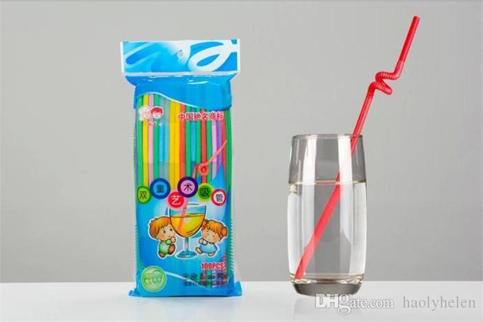 4000 Peças Canudos de Plástico Colorido 6 * 260mm Fontes da Festa de Noivado de Casamento Aniversário Palha Descartável Flexível para Restaurante