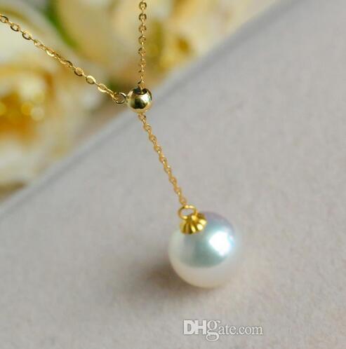 Joyería fina natural Akoya agua de mar perla colgante bien redondo ajustável oro colar clavícula