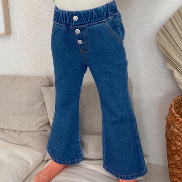 JK coreano Estilo mais novo queda meninas miúdos Jeans Modas Denim Trousers bolso Designs bolsos cintura elástica Outono Crianças Unisex Calças