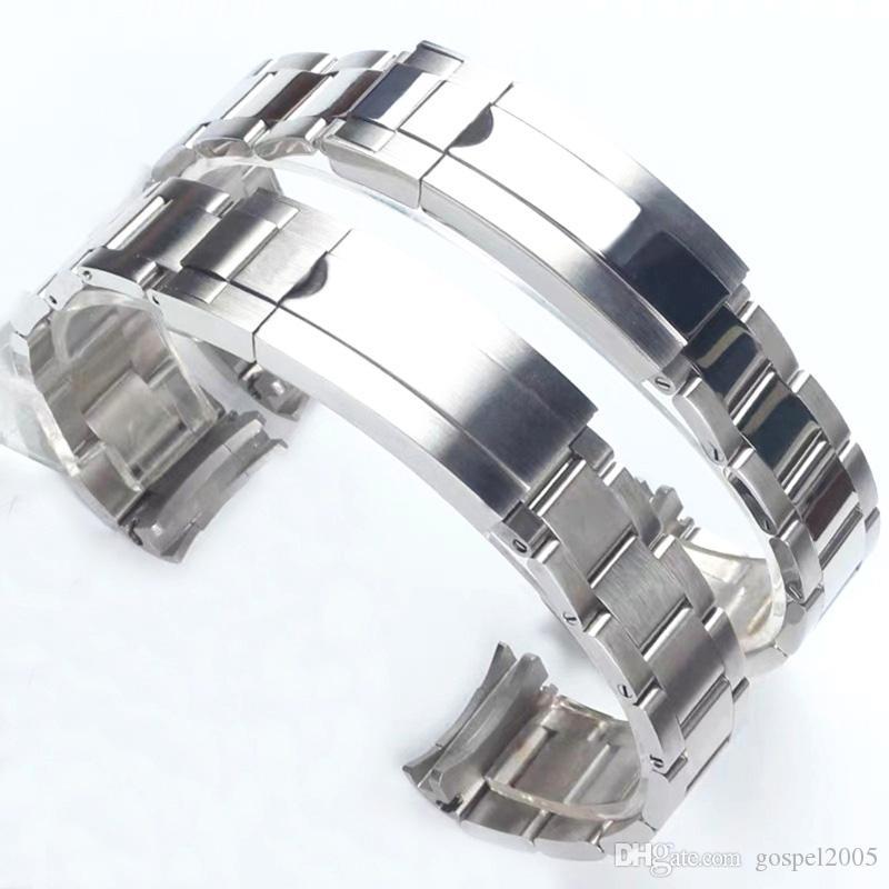 Luxxurys de 20 mm de acero inoxidable de plata cepillado polaco correas de reloj de la correa Para RX Dayytona Submarino papel Sub-Mariner Muñequera Bracelet20mm