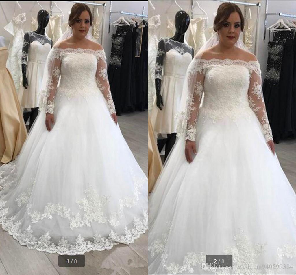Manga larga 2019 apliques de encaje Vestidos de novia Sexy bola vestido largo vestido de novia vestido de novia Vestido de novia 2019 vestido de novia