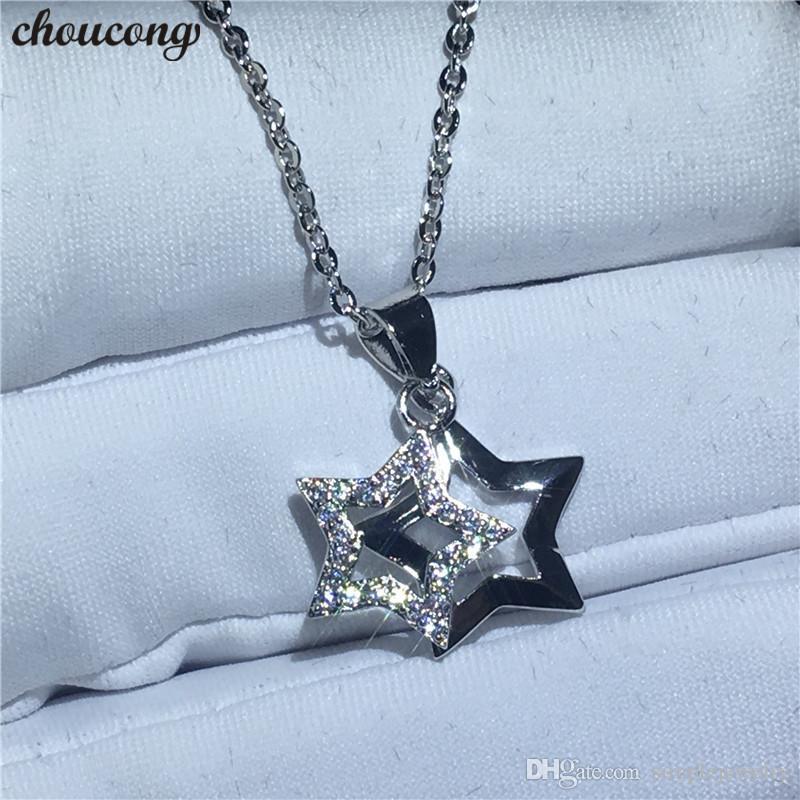 Choucong Collar con forma de Estrella Doble para las mujeres Nupcial 5A Circón Cz Real 925 Colgante de Boda de plata de ley con Collar