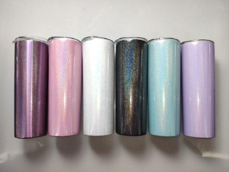 Sublimation Tumbler 20 Unzen Glitter Tumblers Edelstahl Skinny Tumbler Rainbow Tumblers Vakuumisolierte Bier Kaffeetassen mit Strohhalm