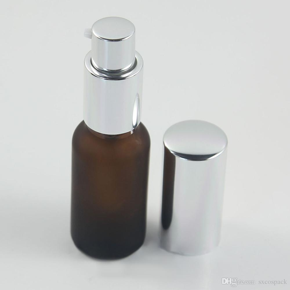 Empty 20ml Green/Amber Glass Lotion Pump Bottle, refillable mini perfume spray bottle container hotsale 100pcs