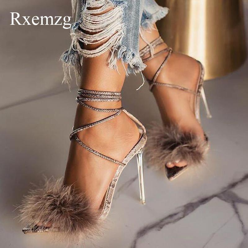 Rxemzg летняя обувь женщина заостренным носком змея печати высокие каблуки сексуальные перо женщин сандалии лодыжки крест ремень прозрачный ясный каблук