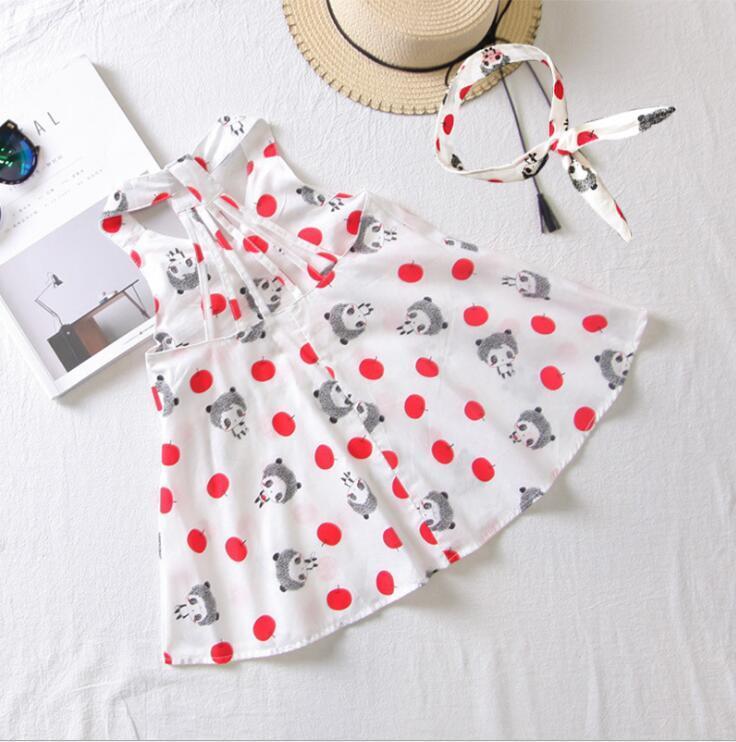 Estate nuovi vestiti ragazza della stampa agnello capestro vestito dell'imbracatura principessa metà del bambino dei bambini del pannello esterno GD173