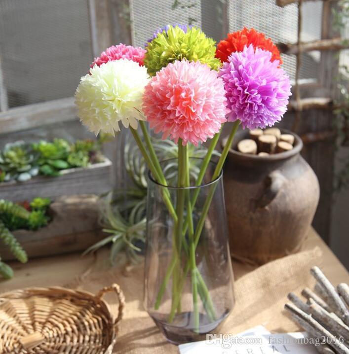 10 adet Tek başlı Küçük Ortanca Soğan Top Simülasyon Çiçekler Ipek Çiçek Ev Soğan Topu Düğün