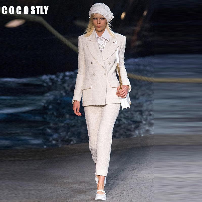 latest sale official shop online retailer 2019 Women White Slim Tweed Blazer Pant Suits Female Suit Dress Women'S  Business Office Tweed Jacket+Pants Ladies Suit Set From Buttonhole, $131.94    ...