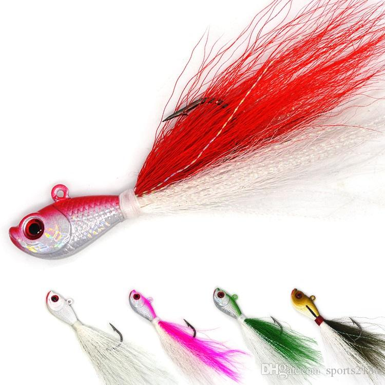 3D Eye Lead Fishing Lure Bucktail Jig Jig Head Hook with Artificial Feather