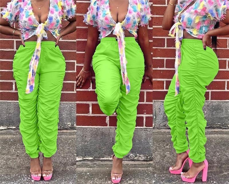 Renk Skinny Bayan Tasarımcı Pantolon Orta Bel Kayışlı Şeker Renk Kadın Yığın Sweatpants Pileli Katı