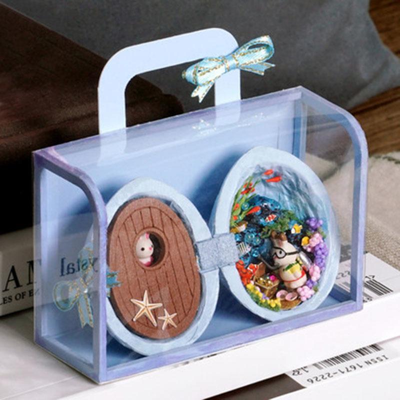 Muñeca muebles de la casa de bricolaje de madera miniatura 3D Miniaturas Dollhouse Juguetes para los regalos de cumpleaños de los niños SUBMARINA ITINERANCIA R006 MX200414