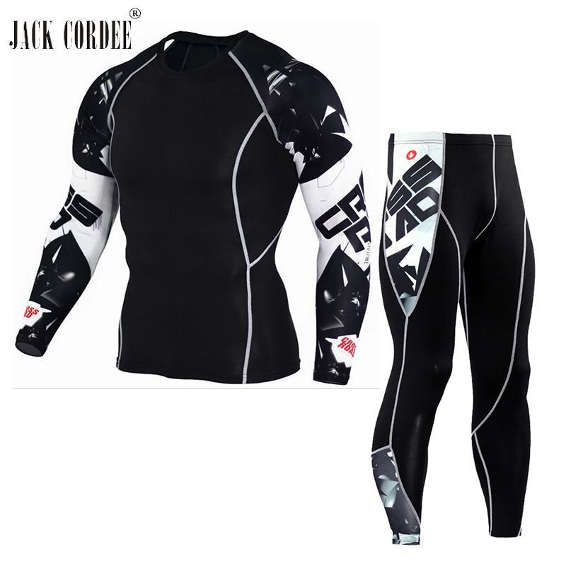 JACK CORDEE 3D Imprimir Homens Conjuntos Camisas De Compressão + Leggings Base de Camada de Fitness Crossfit MMA Camisa de Manga Comprida T Topos Apertados