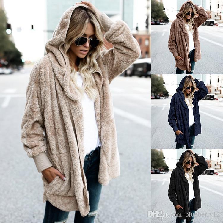 여성용 양모 블렌드 여성 플러스 사이즈 가짜 모피 일반 오버 코트 솔리드 컬러 긴 소매 오픈 프론트 빵 재킷 코트 9 색