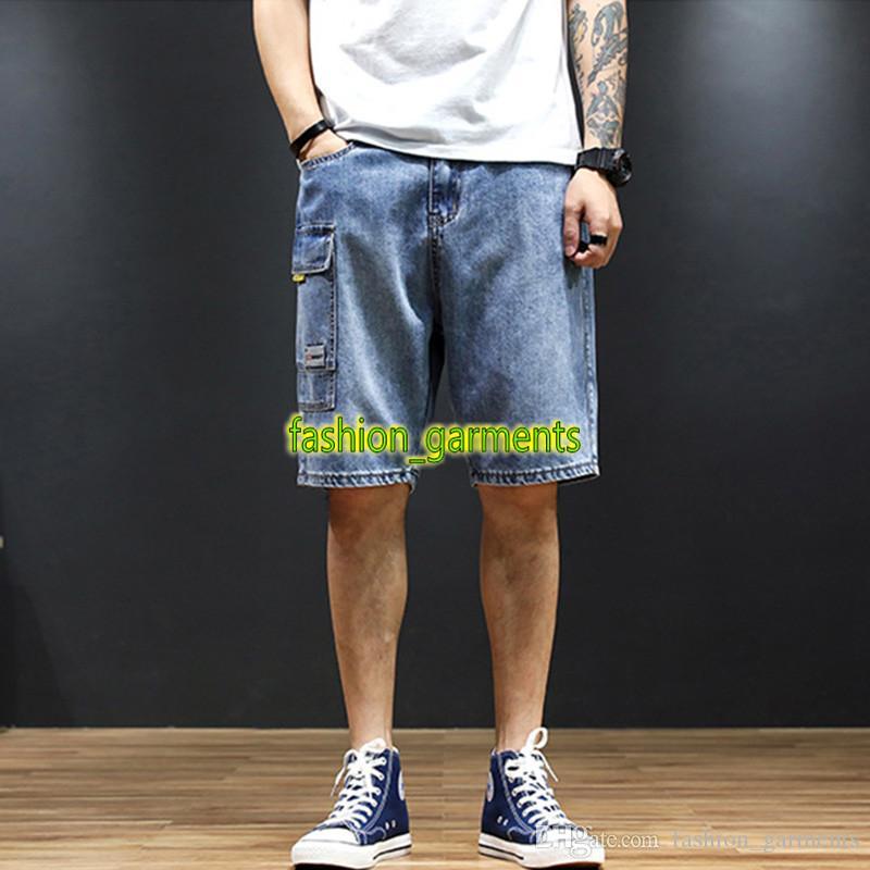 2019 Verano Pantalones cortos de mezclilla para hombre Pantalones de moda para hombre Pantalones vaqueros con múltiples bolsillos estilo europeo y americano