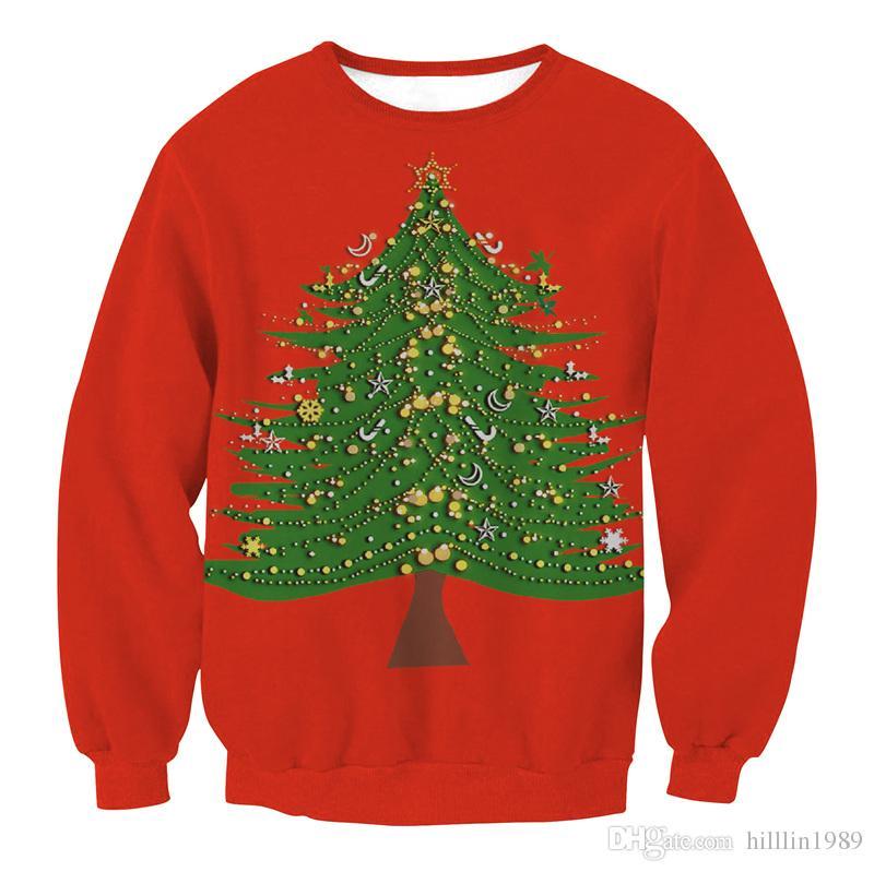 Red Cartoon Christmas Tree Streetwear Ladies Winter Outerwear Hoodies Happy New Year Fashion Sweatshirts Merry Christmas Clothing
