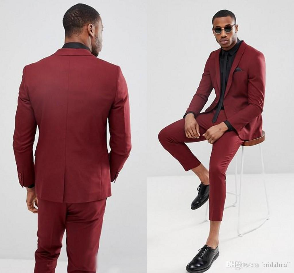 Handsome Burgundy One Button Mens Suits Slim Fit Vent Groomsmen Wedding  Tuxedos For Men Blazers Peaked Lapel Prom Suit Jacket+Pant+Tie Mens Prom  Suits