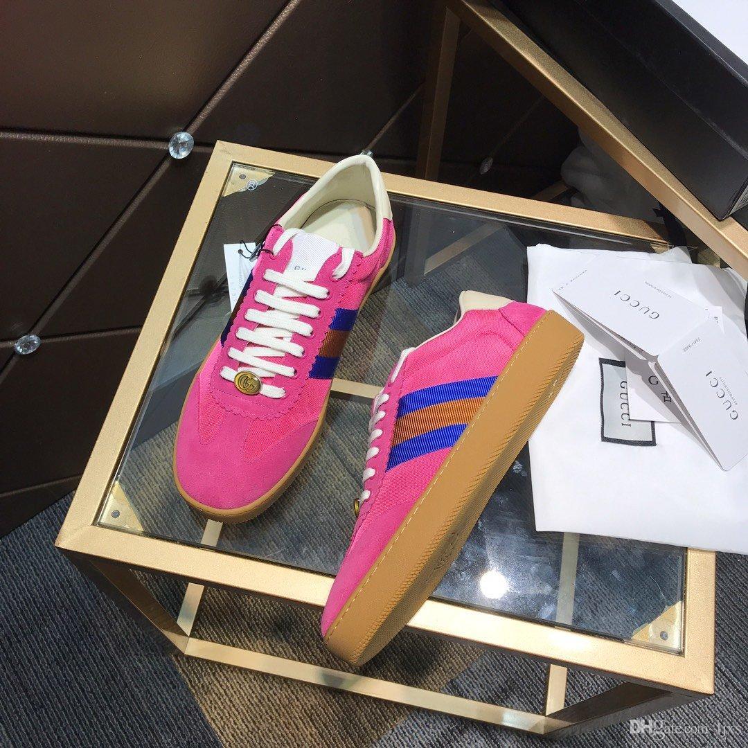 2020 scarpe da uomo di Design di Lusso tela de color rosa con diseño de la piel almizcle 3 rayas marcas de lujo unisex zapatos casuales # 2F