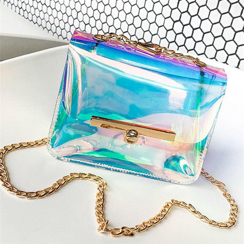 Las nuevas mujeres bolso de la manera holográfica Claro hombro bolsa de asas del holograma transparente del monedero de Crossbody láser Mensajero Baga